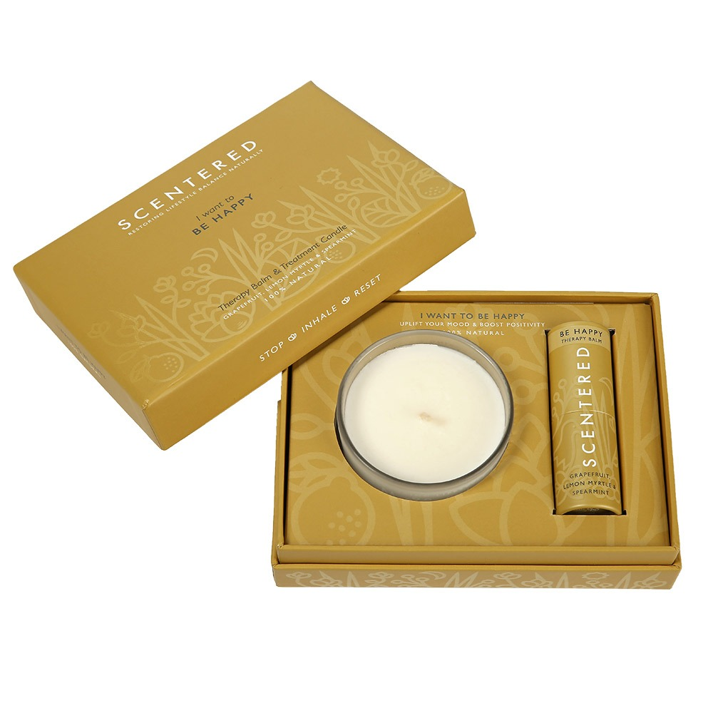 Scentered Happy Balm And Candle Set